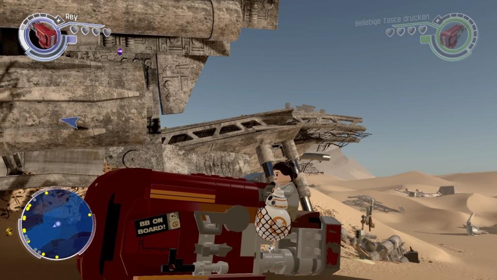Rey und BB-8 auf Reys Speeder