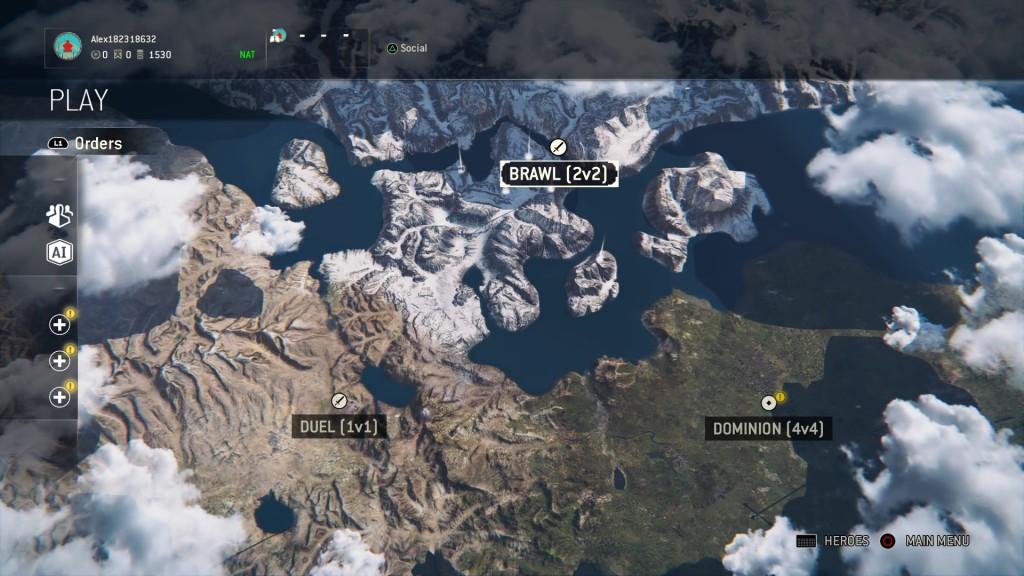 Karte mit Alpha-Spielmodi